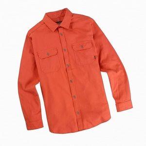 Burton Mens Large Orange Flannel Shirt Button Down